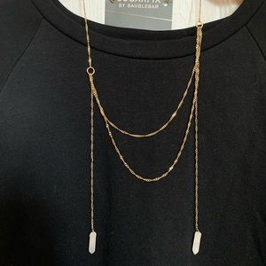 Gold layered necklace with crystals NWT